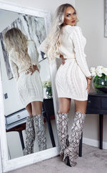 Giselle Ivory Cable Knit Long Sleeve Co-ord Set - Missfiga.com