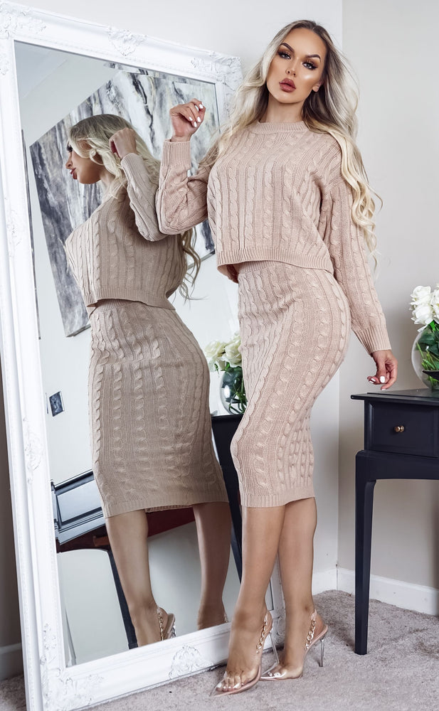 Mona Camel Cable Knit Long Sleeve Co-ord Set
