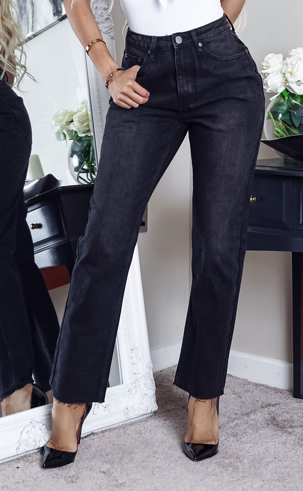 Willa Black Cropped Raw Hem Mom Jeans