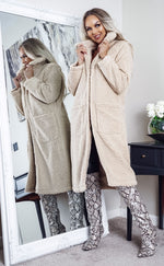Heavenly Caramel Longline Borg Teddy Coat