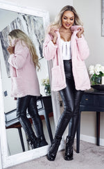 Heavenly Pale Pink Borg Teddy Coat