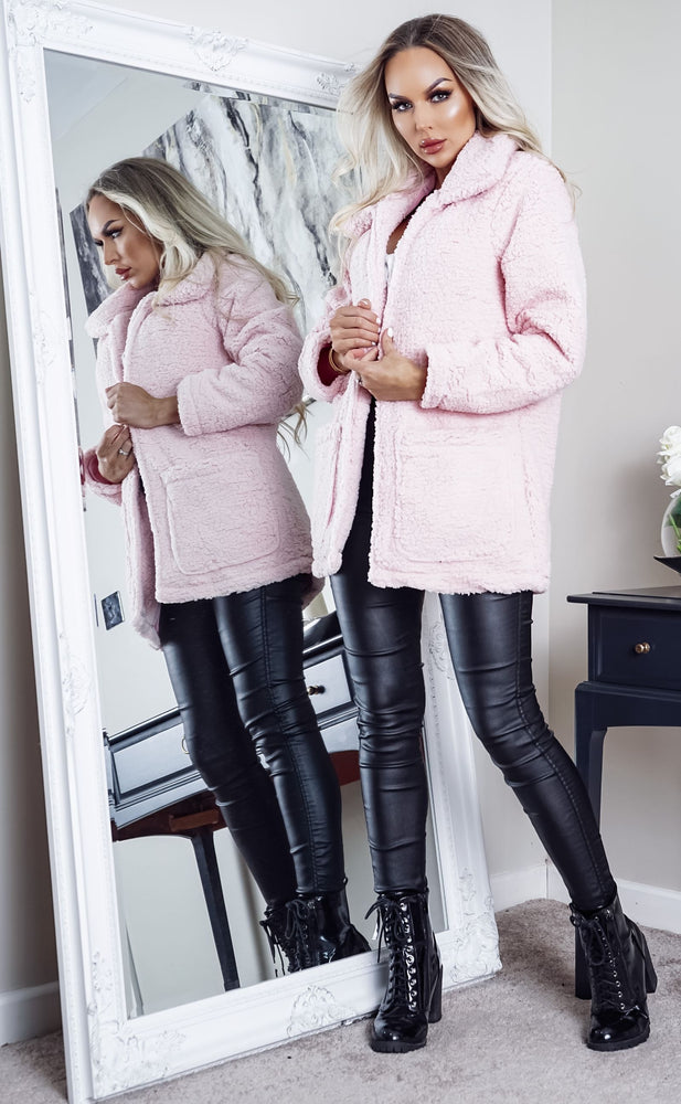 Heavenly Pale Pink Borg Teddy Coat - Missfiga.com
