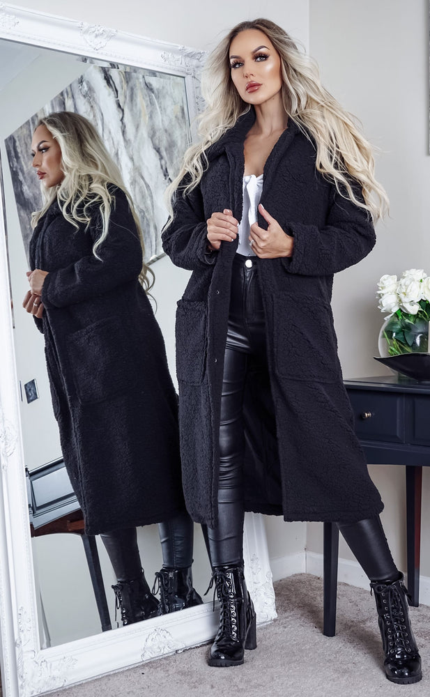 Heavenly Black Longline Borg Teddy Coat