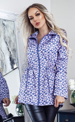 Ray Navy & Lilac Hearts Zip Up Rain Mac Jacket - Missfiga.com