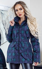 Raven Tartan Check Zip Up Rain Mac Jacket - Missfiga.com