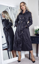 Ayer Black Maxi Button Up Belted Trench Coat