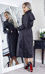 Ayer Black Maxi Button Up Belted Trench Coat - Missfiga.com