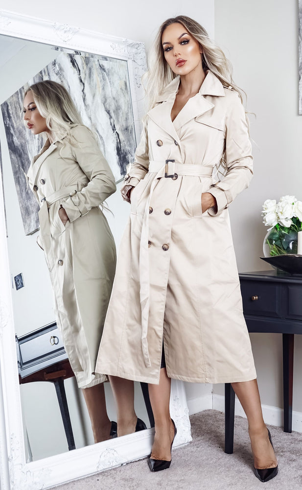 Ayer Stone Maxi Button Up Belted Trench Coat - Missfiga.com