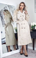 Ayer Stone Maxi Button Up Belted Trench Coat