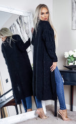 Organza Black Knitted Maxi Long Cardigan - Missfiga.com
