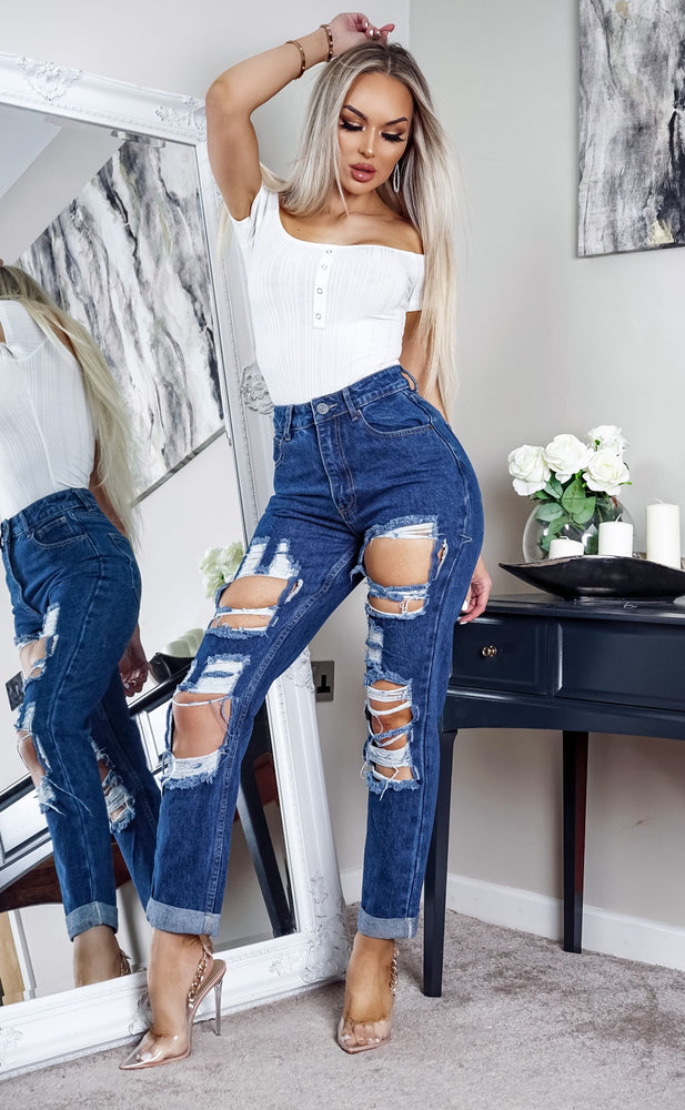 Maisie Indigo Extreme Ripped Mom Jeans