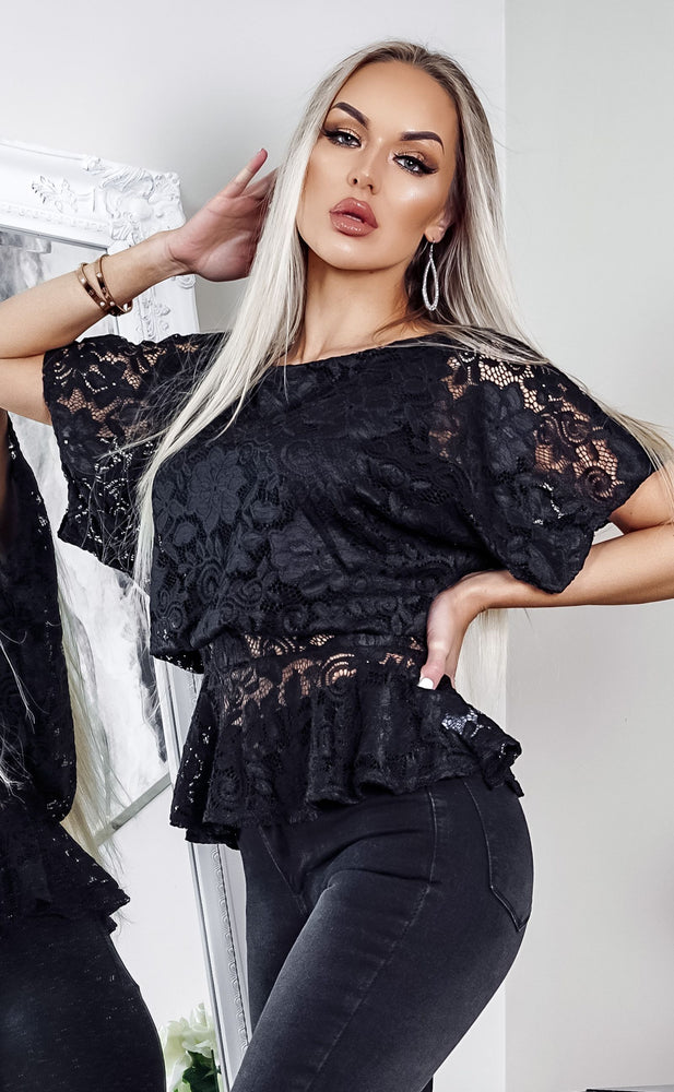 Black Lace Ruby Batwing Peplum Top - Missfiga.com