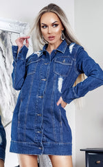 Jia Mid Blue Rip Detail Denim Jacket