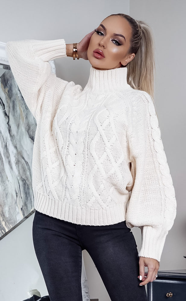 Ralpha Camel Turtle Neck Long Sleeve Knit Top - Missfiga.com