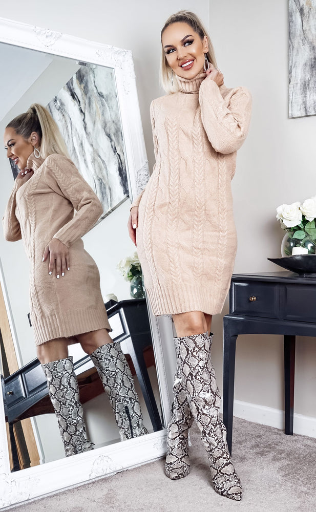 Starkey Camel Cable Knit Long Sleeve Midi Dress