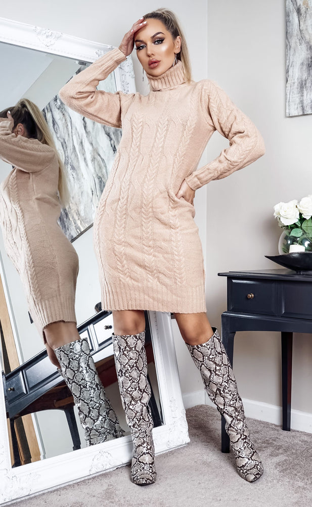Starkey Camel Cable Knit Long Sleeve Midi Dress - Missfiga.com