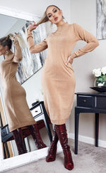 Polleta Camel Knit Long Sleeve Midi Dress