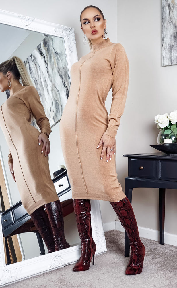 Polleta Camel Knit Long Sleeve Midi Dress - Missfiga.com