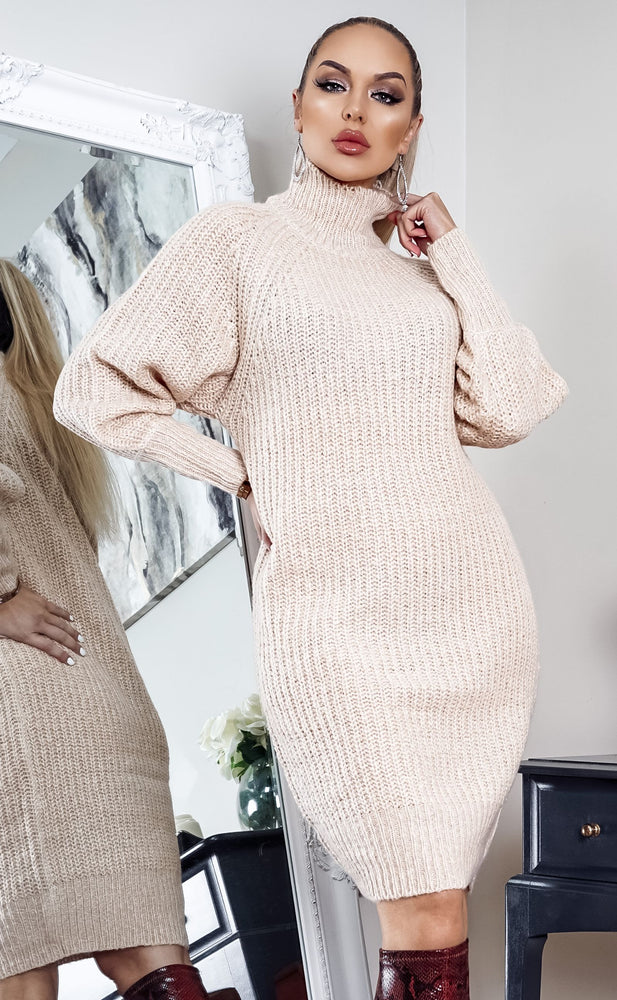 Colombo Almond Knit Long Sleeve Midi Dress