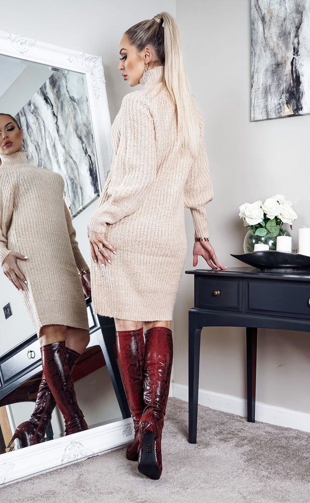 Colombo Almond Knit Long Sleeve Midi Dress - Missfiga.com