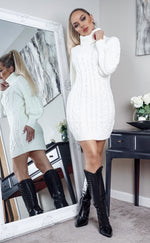 Zincona Cream Camel Cable Knit Long Sleeve Midi Dress - Missfiga.com