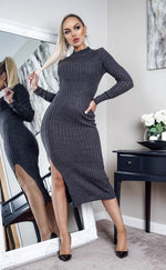 Cubo Charcoal Knit Side Slit Maxi Dress