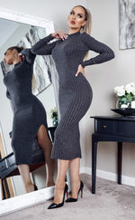 Cubo Charcoal Knit Side Slit Maxi Dress - Missfiga.com