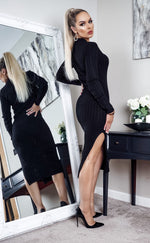 Cubo Black Knit Side Slit Maxi Dress - Missfiga.com