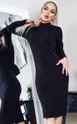 Polleta Black Knit Long Sleeve Midi Dress