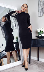 Polleta Black Knit Long Sleeve Midi Dress - Missfiga.com