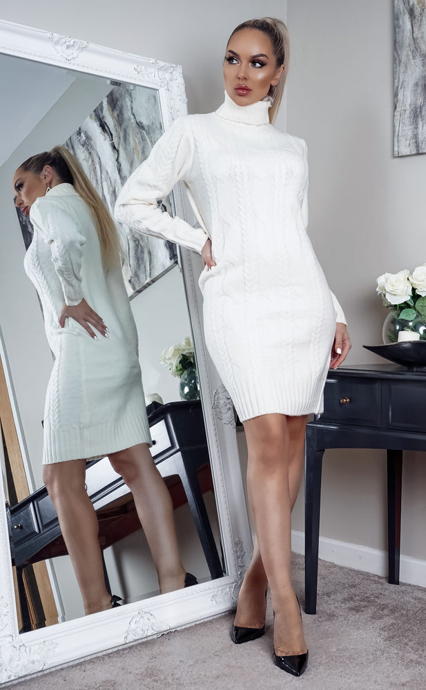 Starkey Ivory Cable Knit Long Sleeve Midi Dress - Missfiga.com