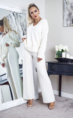 Paula Ivory V Neck Top Oversized Lounge Set - Missfiga.com