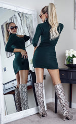 Mandy Khaki Turtle Neck Knit Long Sleeve Dress - Missfiga.com