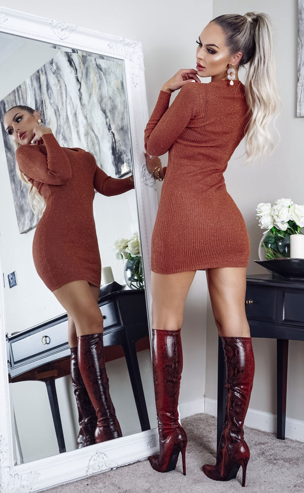 Goldie Rust V Neck Long Sleeve Knitted Dress - Missfiga.com
