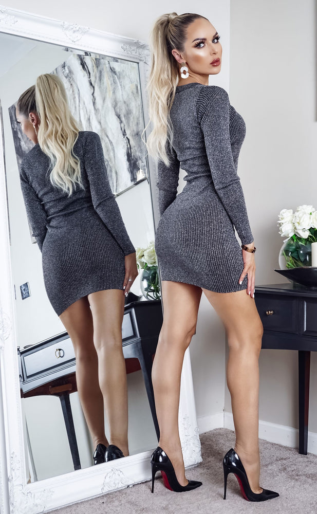 Goldie Black & Silver V Neck Long Sleeve Knitted Dress - Missfiga.com
