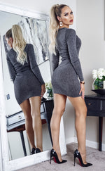 Goldie Black & Silver V Neck Long Sleeve Knitted Dress