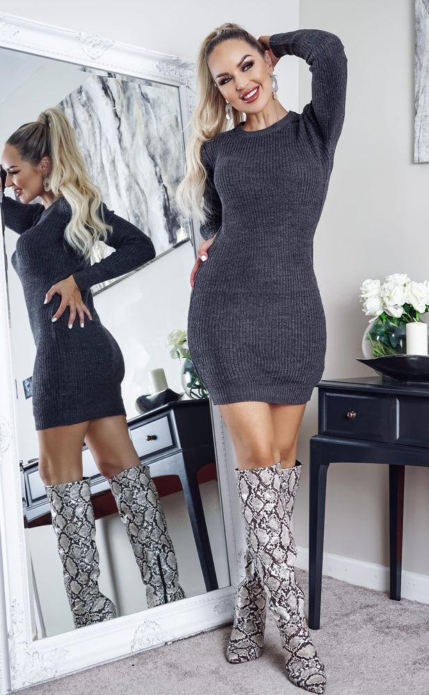 Tamsin Dark Grey Long Sleeve Knitted Dress