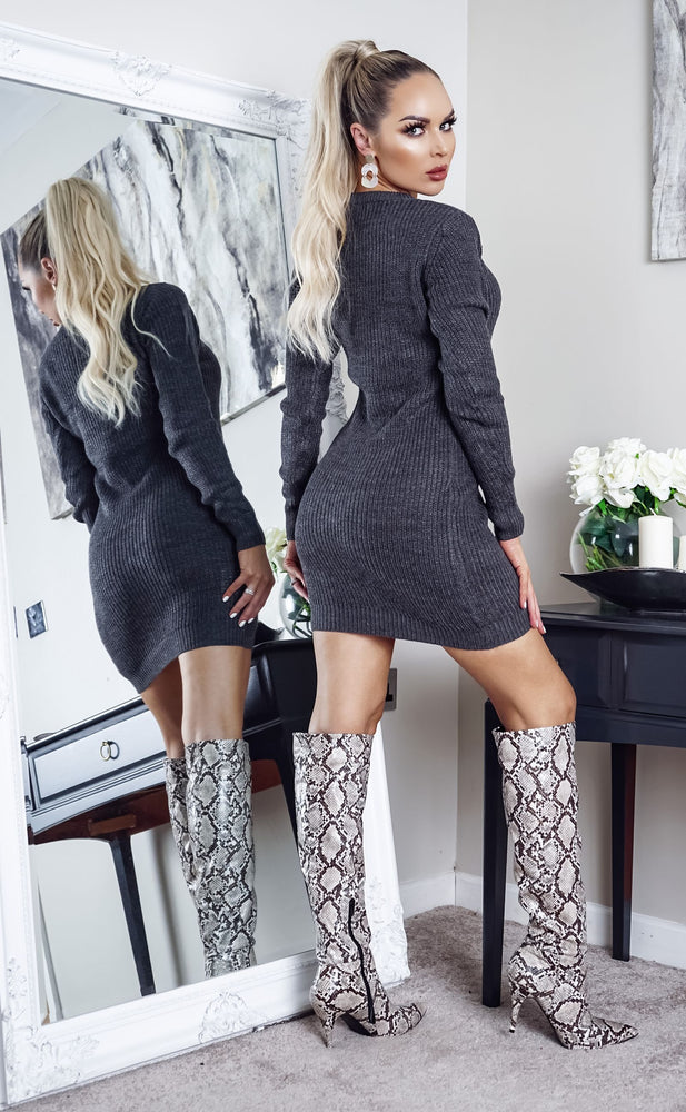 Tamsin Dark Grey Long Sleeve Knitted Dress - Missfiga.com