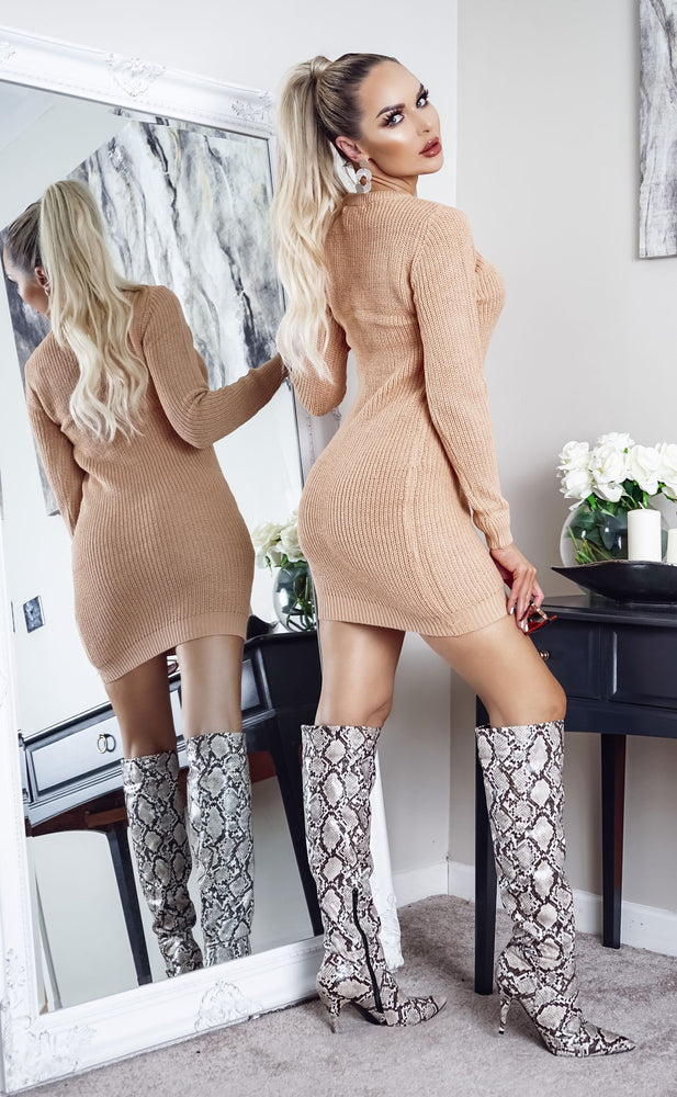 Tamsin Camel Long Sleeve Knitted Dress - Missfiga.com