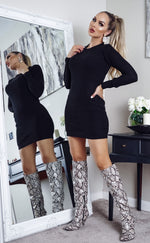 Tamsin Black Long Sleeve Knitted Dress - Missfiga.com