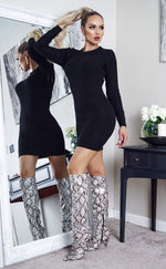 Tamsin Black Long Sleeve Knitted Dress