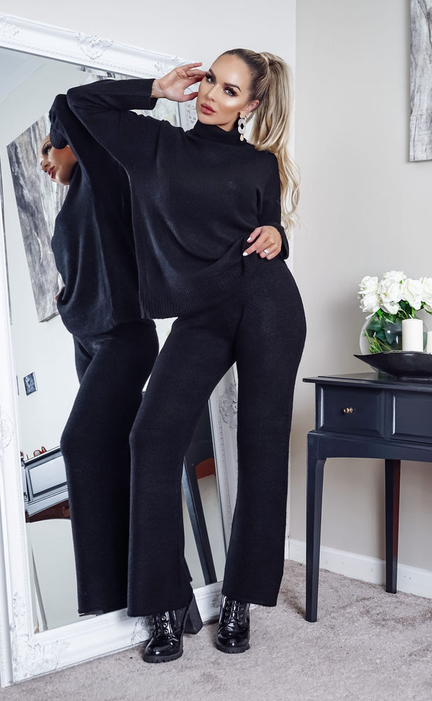 Brady Black Turtle Neck Oversized Lounge Set - Missfiga.com