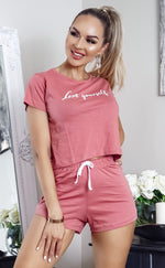 Love Yourself Slogan Shorts PJ Set - Missfiga.com