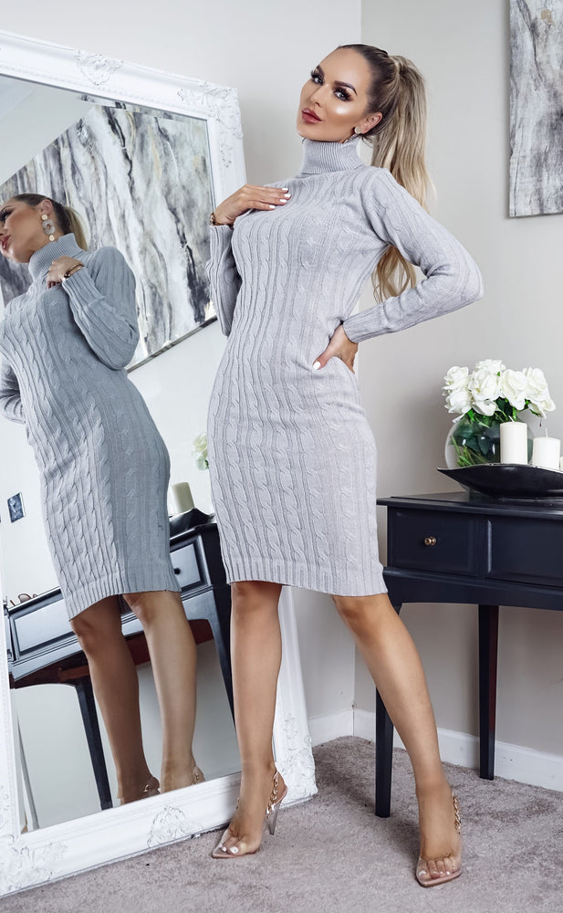 Cullan Grey Cable Knit Long Sleeve Midi Dress