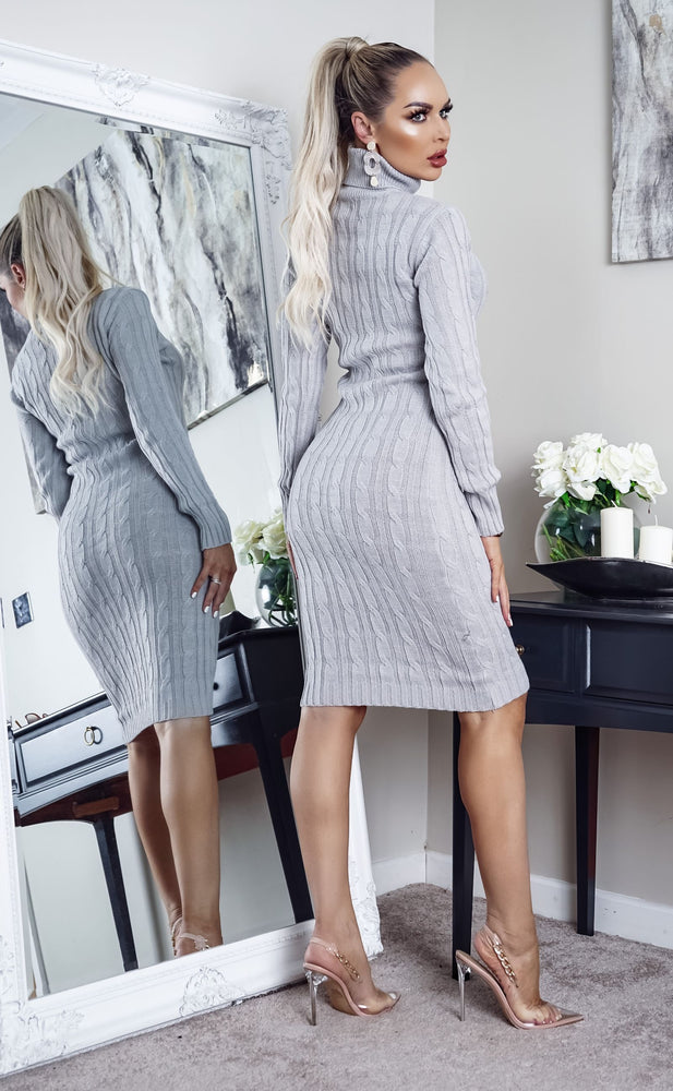 Cullan Grey Cable Knit Long Sleeve Midi Dress - Missfiga.com