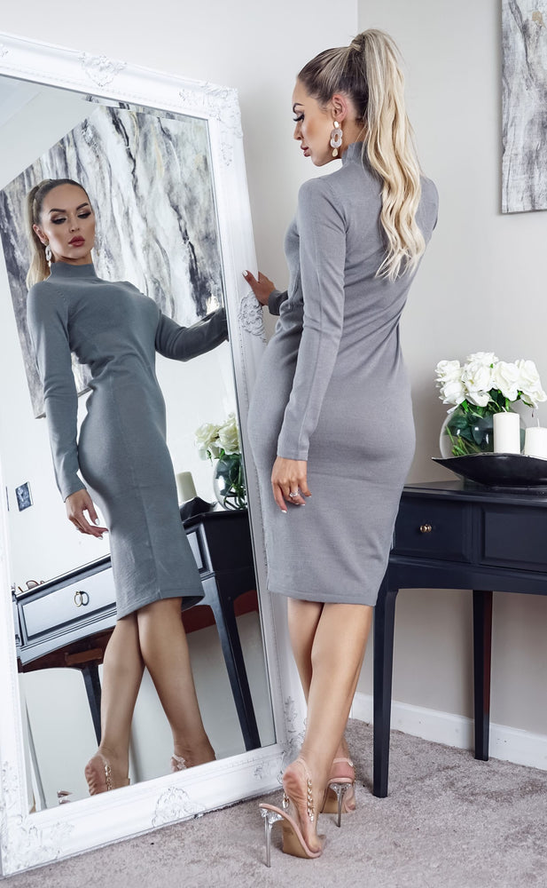 Rouse Grey Knit Long Sleeve Midi Dress - Missfiga.com