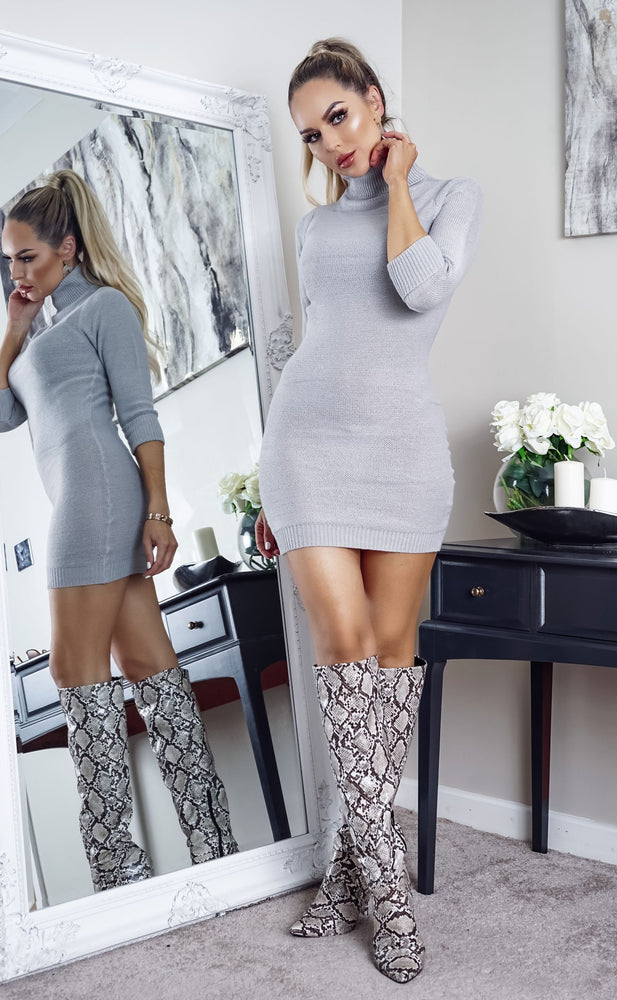 Mandy Grey Turtle Neck Knit Long Sleeve Dress - Missfiga.com