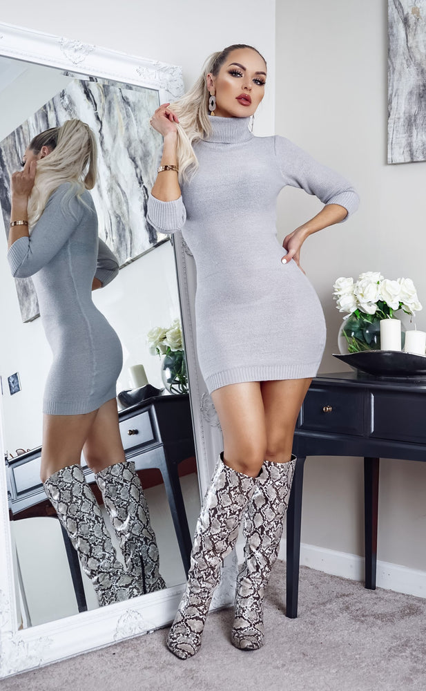 Mandy Grey Turtle Neck Knit Long Sleeve Dress