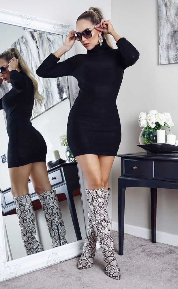 Mandy Black Turtle Neck Knit Long Sleeve Dress
