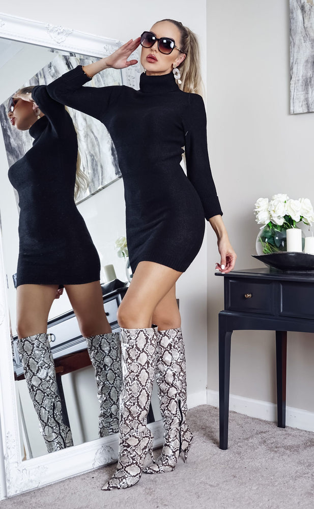 Mandy Black Turtle Neck Knit Long Sleeve Dress - Missfiga.com